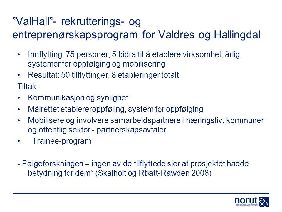 """""""ValHall""""- rekrutterings- og entreprenørskapsprogram for Valdres og Hallingdal Innflytting: 75 personer, 5 bidra til å etablere virksomhet, årlig, sys"""