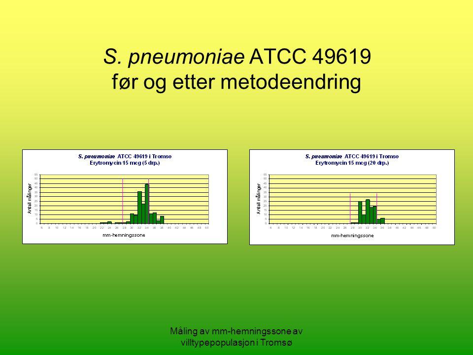 Måling av mm-hemningssone av villtypepopulasjon i Tromsø S.