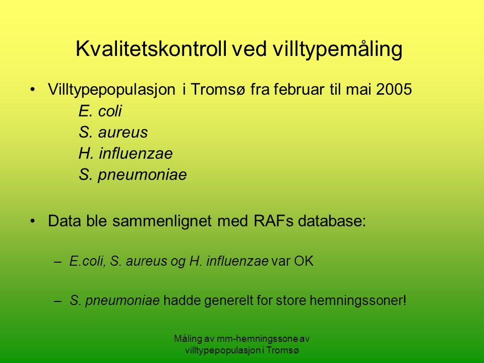 Måling av mm-hemningssone av villtypepopulasjon i Tromsø Villtypepopulasjon i Tromsø fra februar til mai 2005 E.