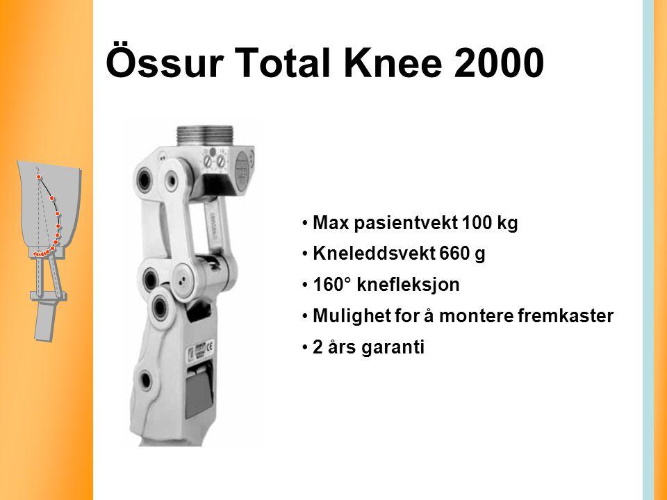 Össur Total Knee 2000 Max pasientvekt 100 kg Kneleddsvekt 660 g 160° knefleksjon Mulighet for å montere fremkaster 2 års garanti