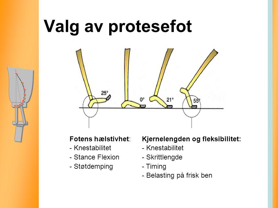 Valg av protesefot Fotens hælstivhet: - Knestabilitet - Stance Flexion - Støtdemping Kjernelengden og fleksibilitet: - Knestabilitet - Skrittlengde -