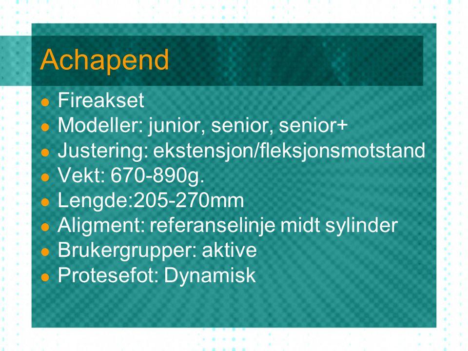 Achapend Fireakset Modeller: junior, senior, senior+ Justering: ekstensjon/fleksjonsmotstand Vekt: 670-890g.