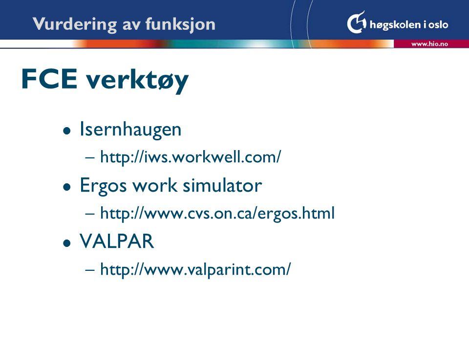 FCE verktøy l Isernhaugen –http://iws.workwell.com/ l Ergos work simulator –http://www.cvs.on.ca/ergos.html l VALPAR –http://www.valparint.com/ Vurder