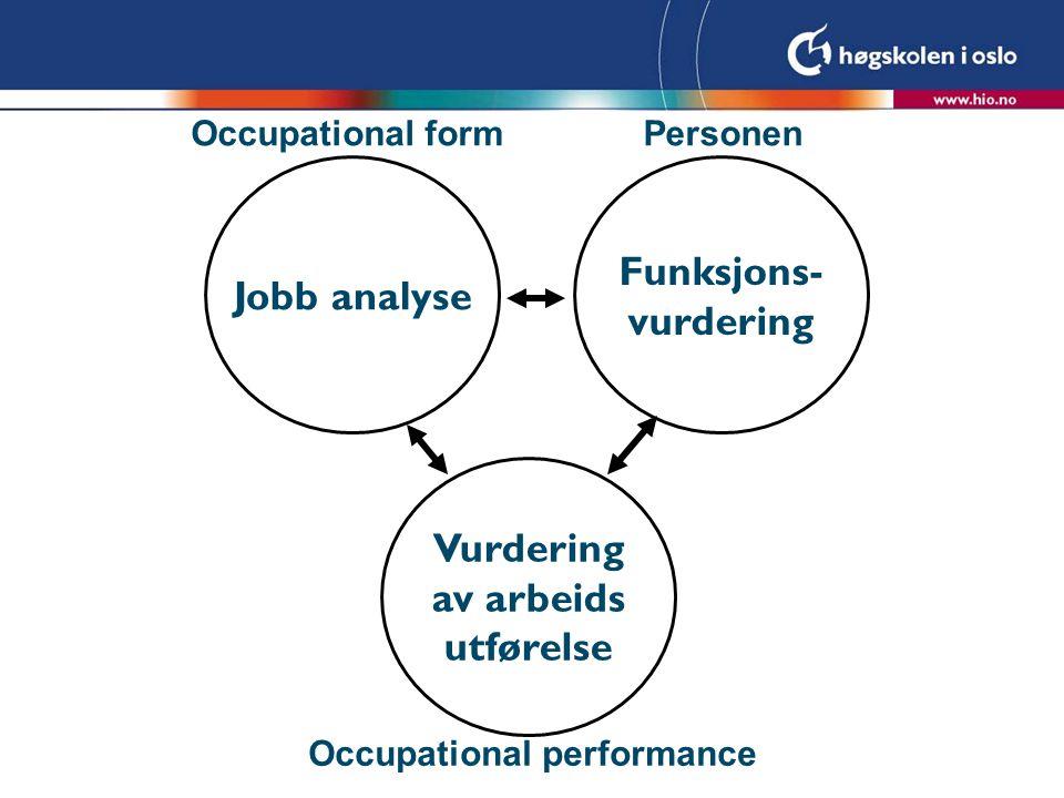 Funksjons- vurdering Jobb analyse Vurdering av arbeids utførelse Occupational form Occupational performance Personen