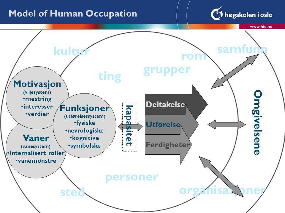 Deltakelse Vaner (vanesystem) Internalisert roller vanemønstre Model of Human Occupation Motivasjon (viljesystem) mestring interesser verdier Funksjon
