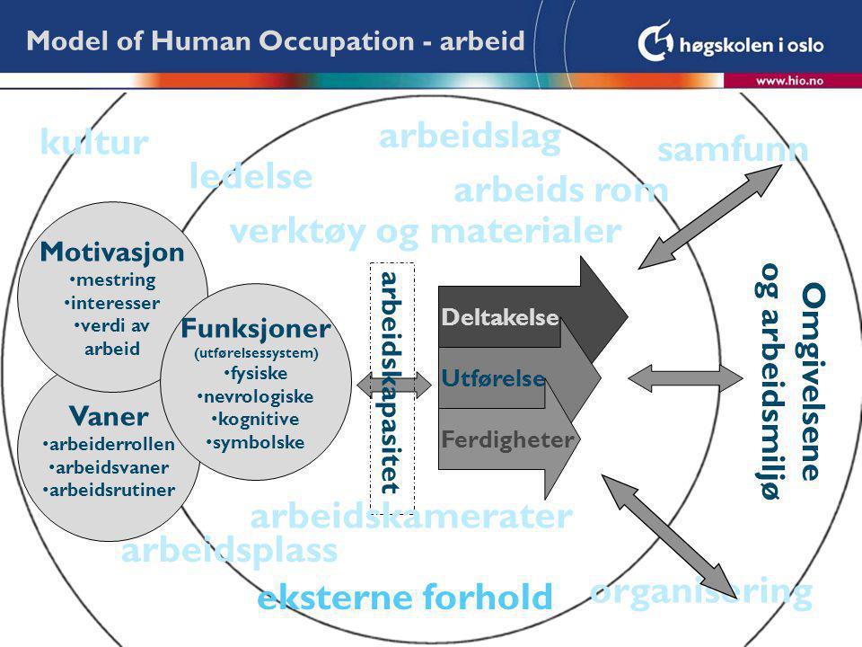 Deltakelse Vaner arbeiderrollen arbeidsvaner arbeidsrutiner Model of Human Occupation - arbeid Motivasjon mestring interesser verdi av arbeid Funksjon