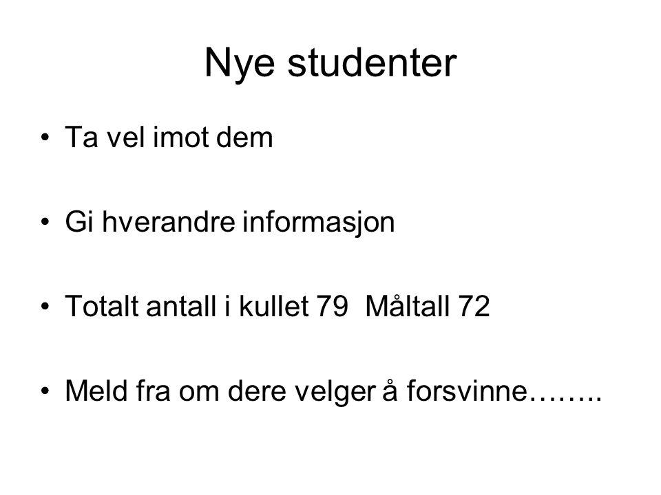 Nye studenter Ta vel imot dem Gi hverandre informasjon Totalt antall i kullet 79 Måltall 72 Meld fra om dere velger å forsvinne……..