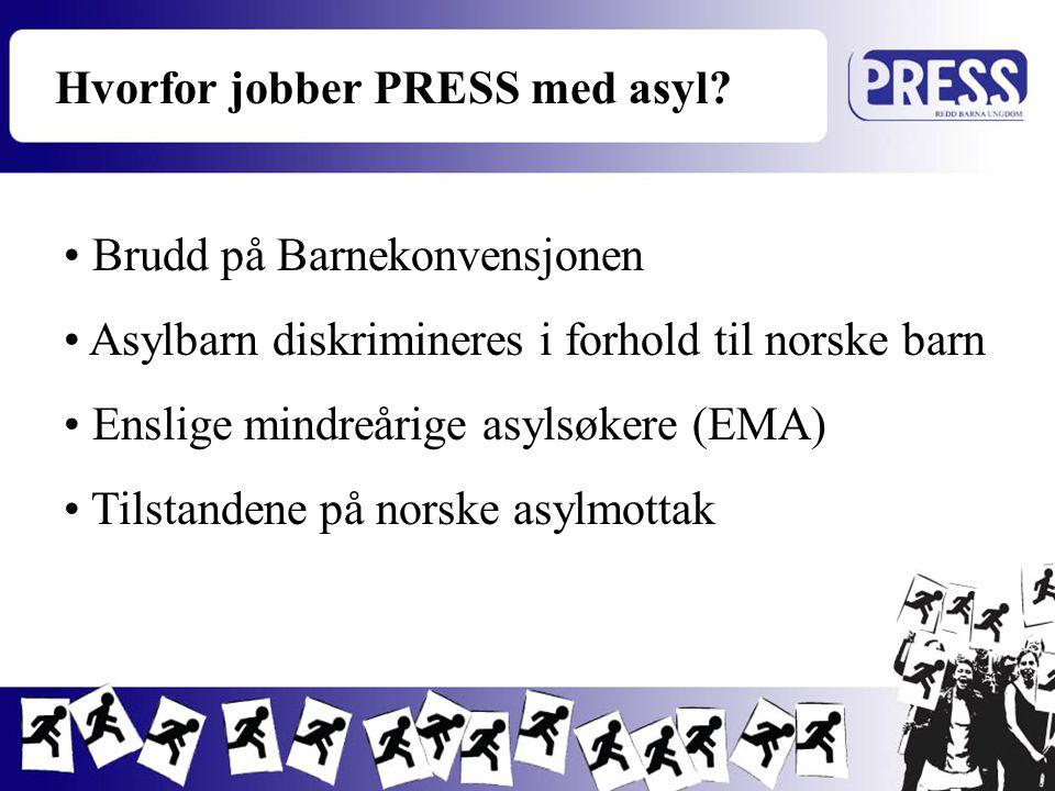 Brudd på Barnekonvensjonen Asylbarn diskrimineres i forhold til norske barn Enslige mindreårige asylsøkere (EMA) Tilstandene på norske asylmottak Hvor