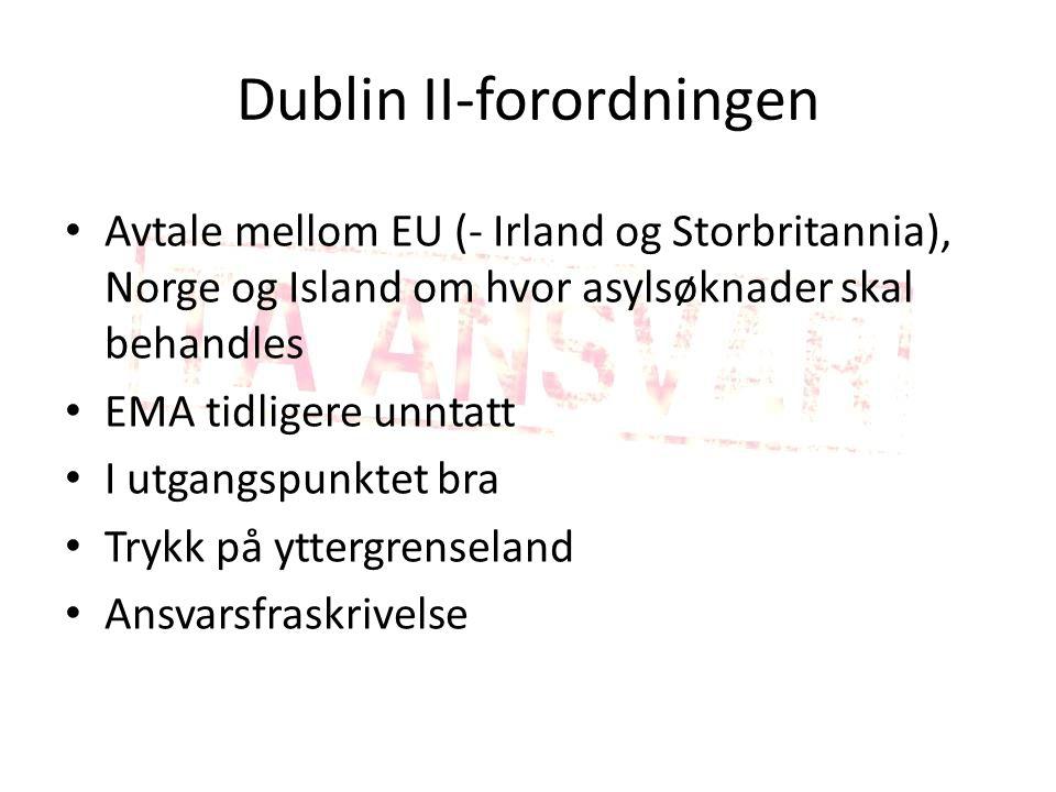 Dublin II-forordningen Avtale mellom EU (- Irland og Storbritannia), Norge og Island om hvor asylsøknader skal behandles EMA tidligere unntatt I utgangspunktet bra Trykk på yttergrenseland Ansvarsfraskrivelse