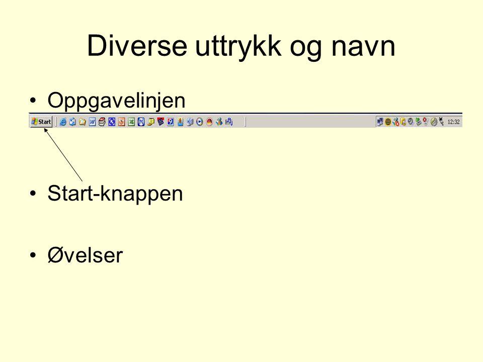 Diverse uttrykk og navn Oppgavelinjen Start-knappen Øvelser