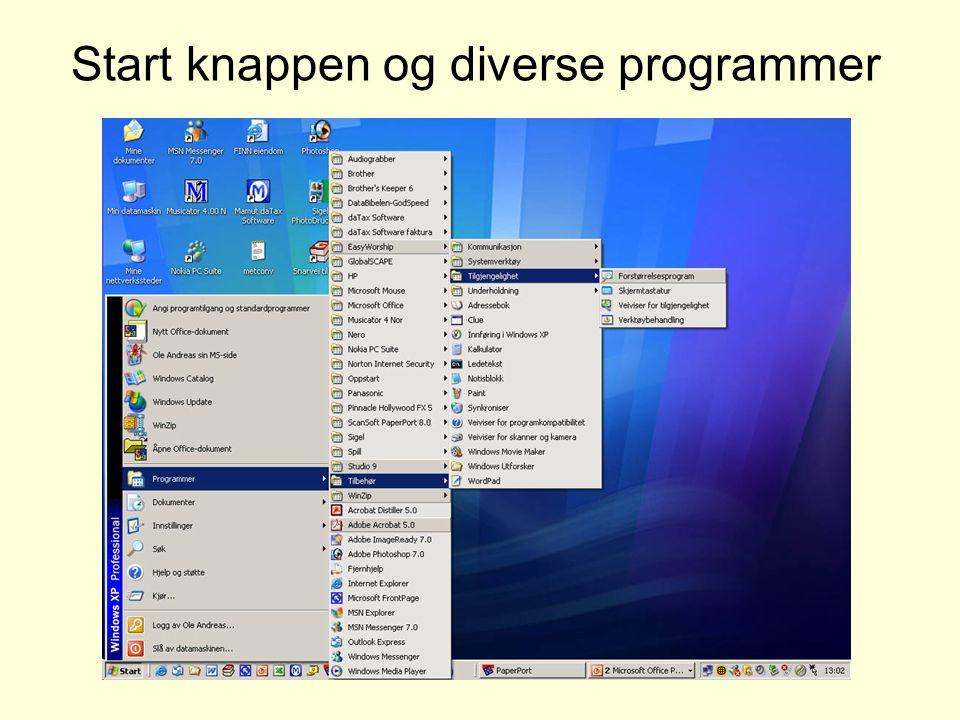 Start knappen og diverse programmer