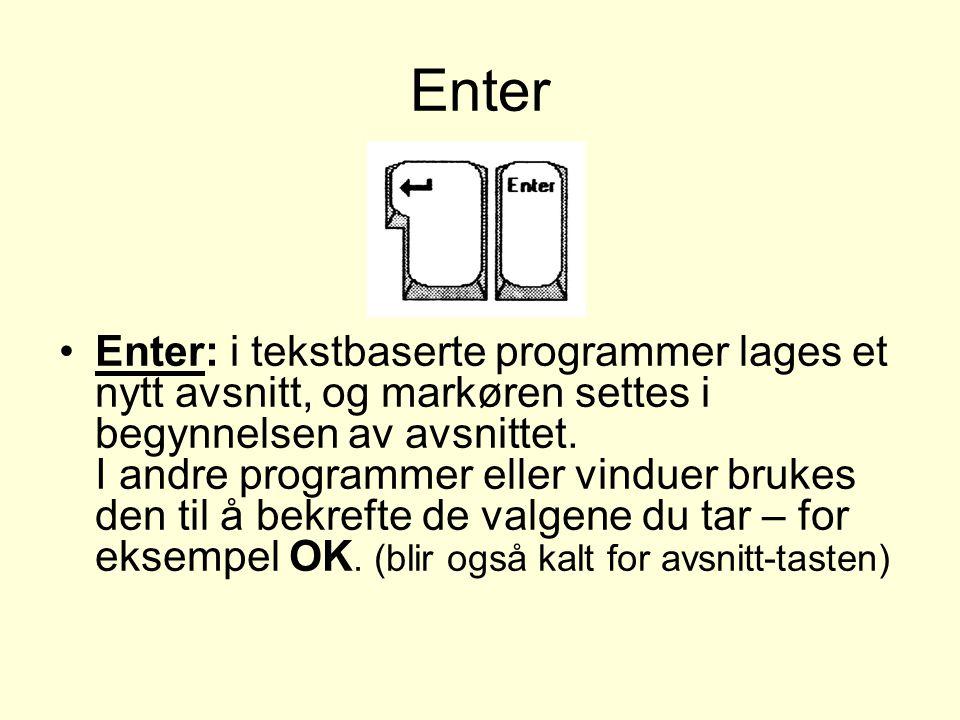 Enter Enter: i tekstbaserte programmer lages et nytt avsnitt, og markøren settes i begynnelsen av avsnittet.