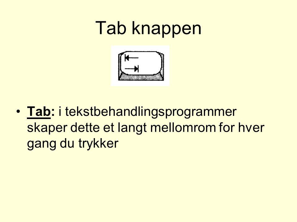 Tab knappen Tab: i tekstbehandlingsprogrammer skaper dette et langt mellomrom for hver gang du trykker