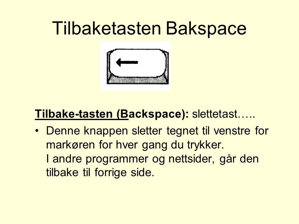 Tilbaketasten Bakspace Tilbake-tasten (Backspace): slettetast…..