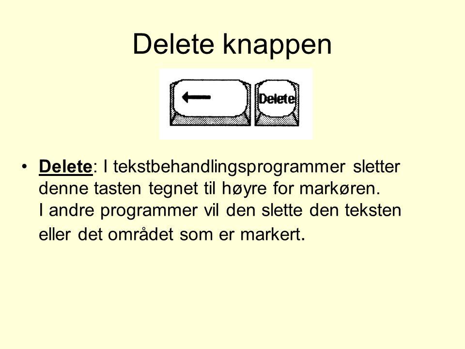 Delete knappen Delete: I tekstbehandlingsprogrammer sletter denne tasten tegnet til høyre for markøren.