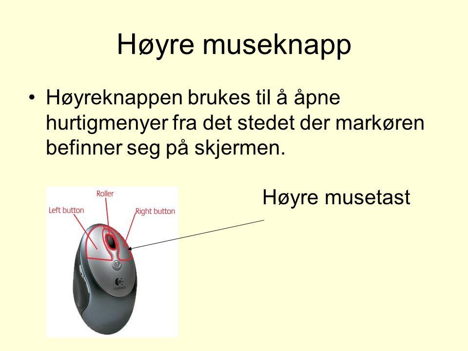 Høyre museknapp Høyreknappen brukes til å åpne hurtigmenyer fra det stedet der markøren befinner seg på skjermen.