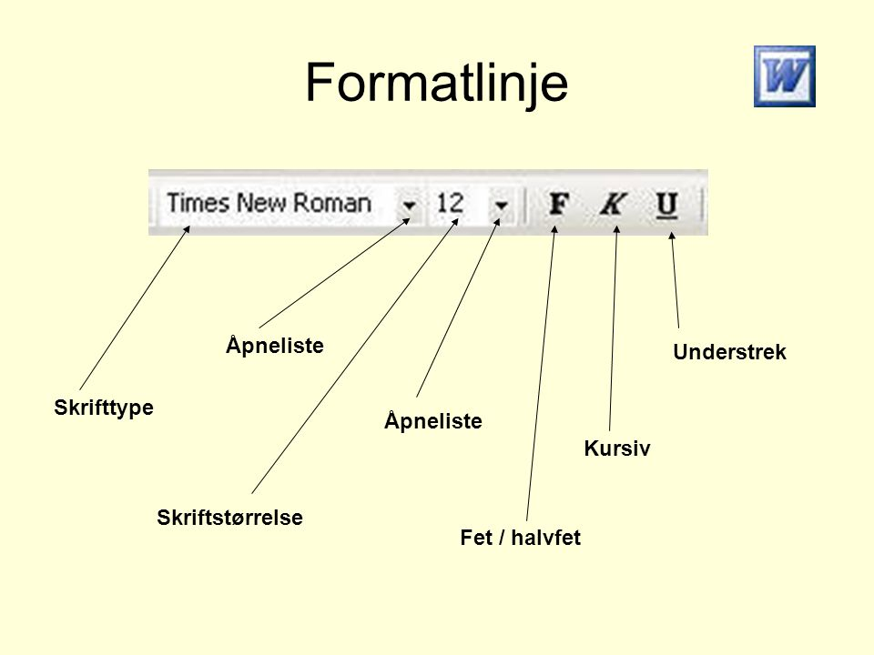Formatlinje Skrifttype Åpneliste Skriftstørrelse Fet / halvfet Kursiv Understrek