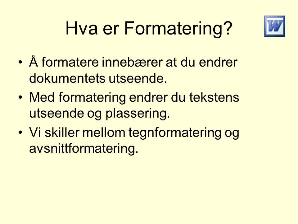 Hva er Formatering? Å formatere innebærer at du endrer dokumentets utseende. Med formatering endrer du tekstens utseende og plassering. Vi skiller mel