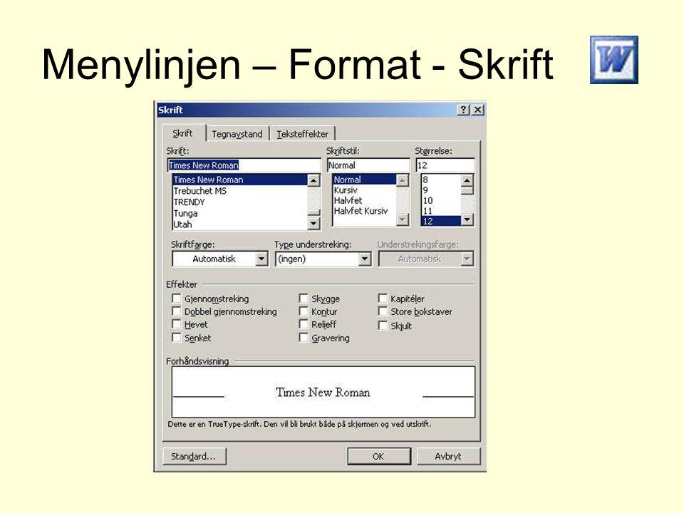 Menylinjen – Format - Skrift