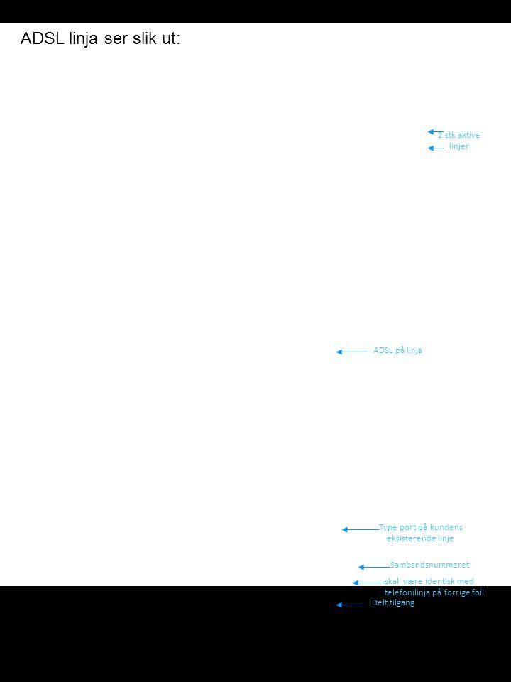 ADSL linja ser slik ut: 2 stk aktive linjer ADSL på linja Type port på kundens eksisterende linje Sambandsnummeret skal være identisk med telefonilinj