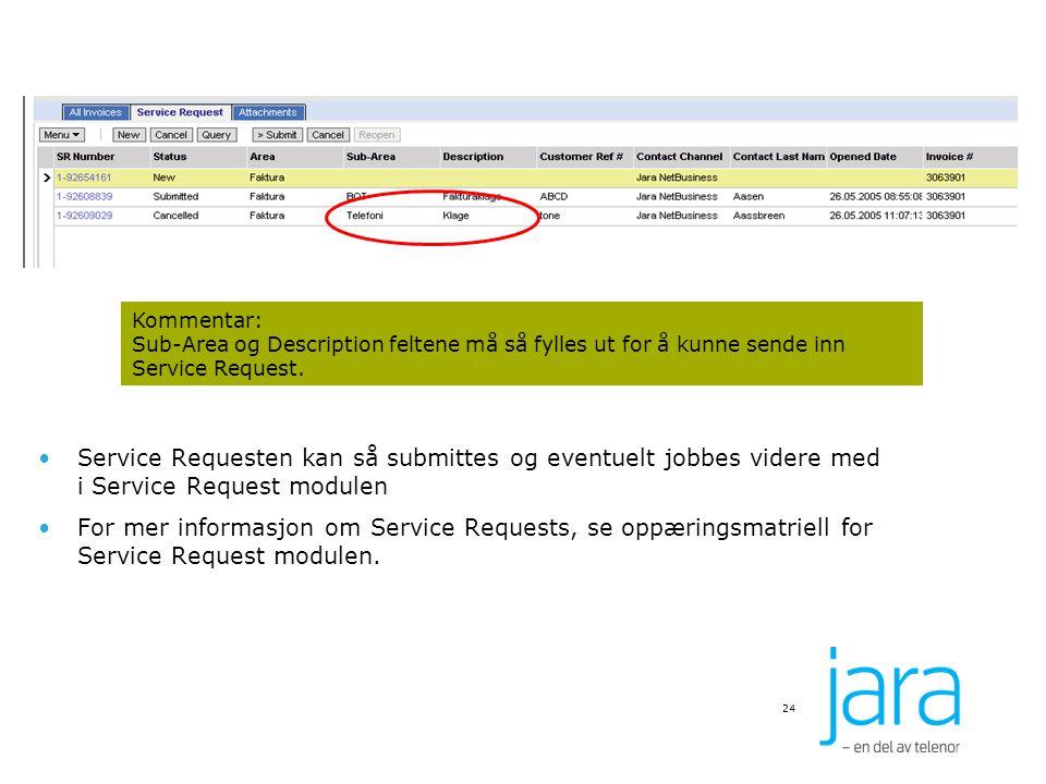 24 Kommentar: Sub-Area og Description feltene må så fylles ut for å kunne sende inn Service Request. Service Requesten kan så submittes og eventuelt j