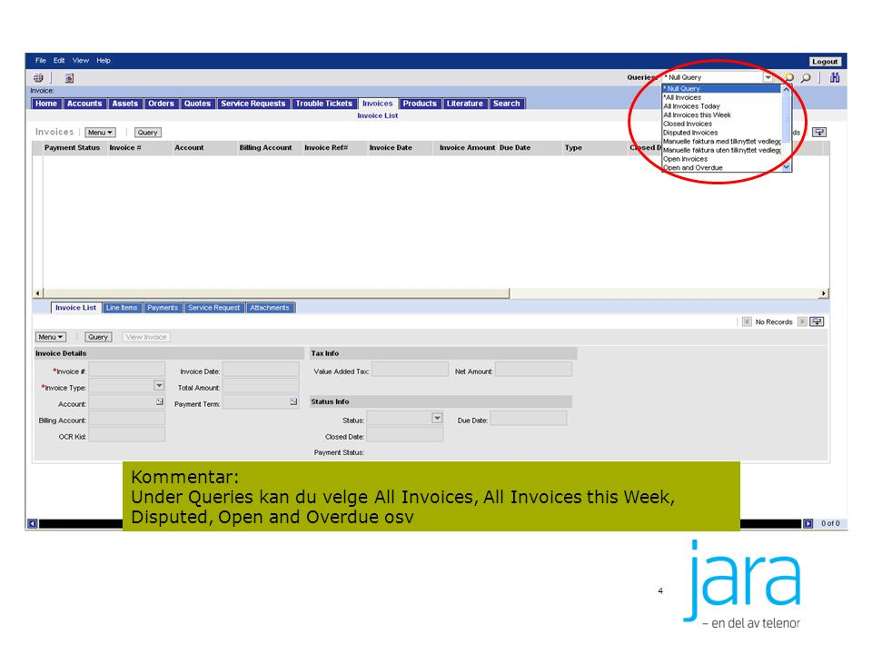 4 Kommentar: Under Queries kan du velge All Invoices, All Invoices this Week, Disputed, Open and Overdue osv