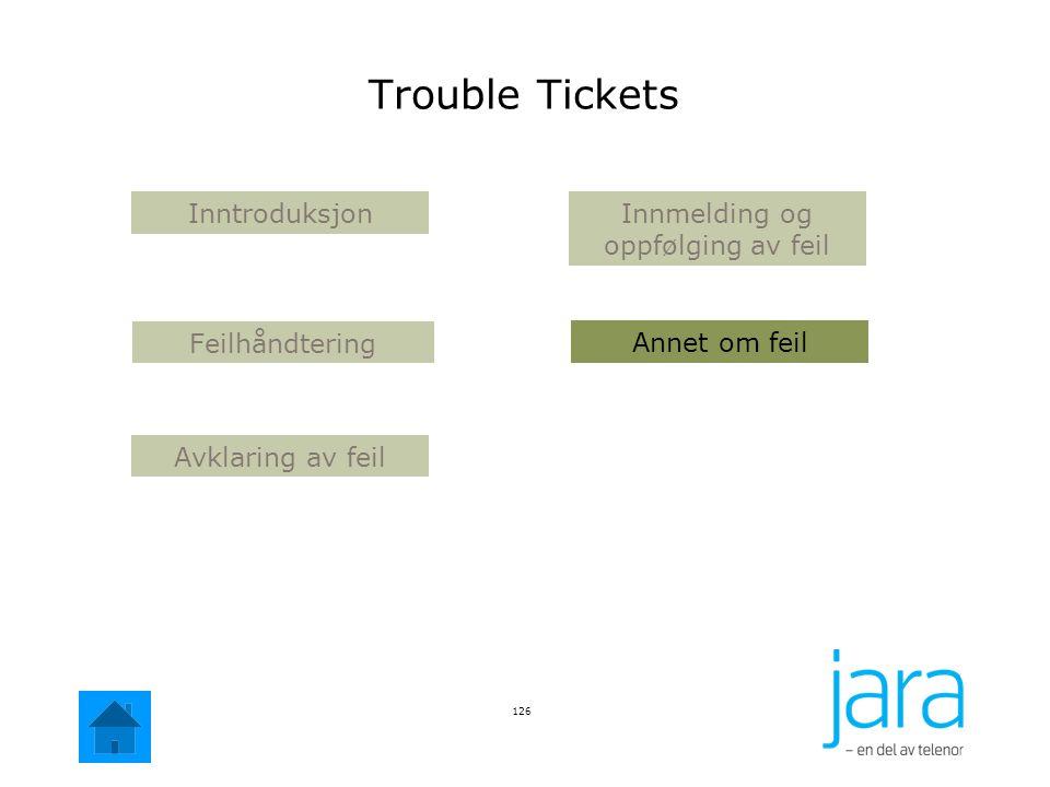 126 Annet om feil Avklaring av feil Innmelding og oppfølging av feil Inntroduksjon Feilhåndtering Trouble Tickets