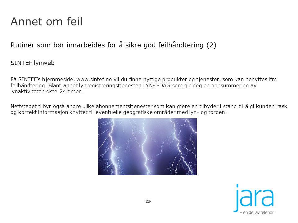 Annet om feil Rutiner som bør innarbeides for å sikre god feilhåndtering (2) SINTEF lynweb På SINTEF's hjemmeside, www.sintef.no vil du finne nyttige