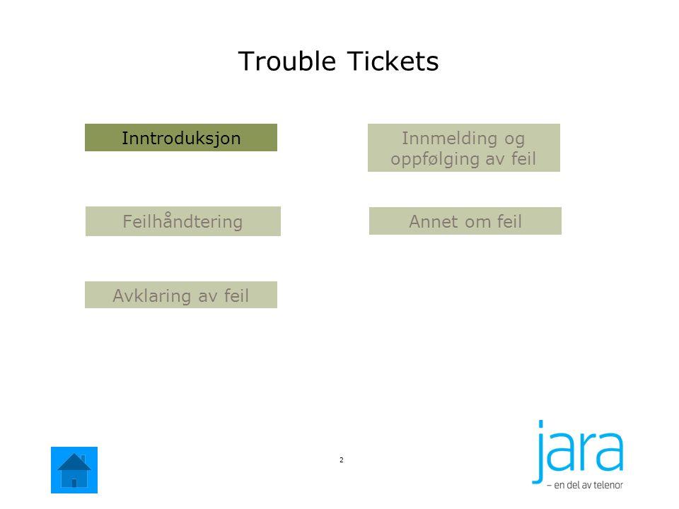 Introduksjon 3 Kommentar: Trouble Tickets er modulen i Jara NetBusiness som benyttes til å registrere feil på Operatøraksess, ADSL, telefoni og samband.