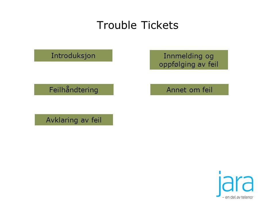 Trouble Tickets Annet om feil Avklaring av feil Innmelding og oppfølging av feil Feilhåndtering Introduksjon