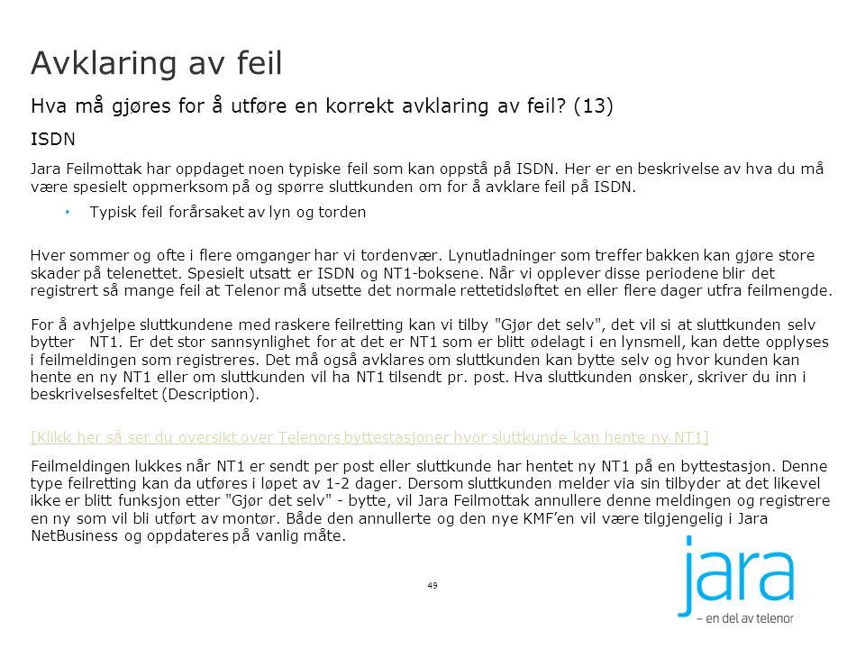 Avklaring av feil Hva må gjøres for å utføre en korrekt avklaring av feil? (13) ISDN Jara Feilmottak har oppdaget noen typiske feil som kan oppstå på