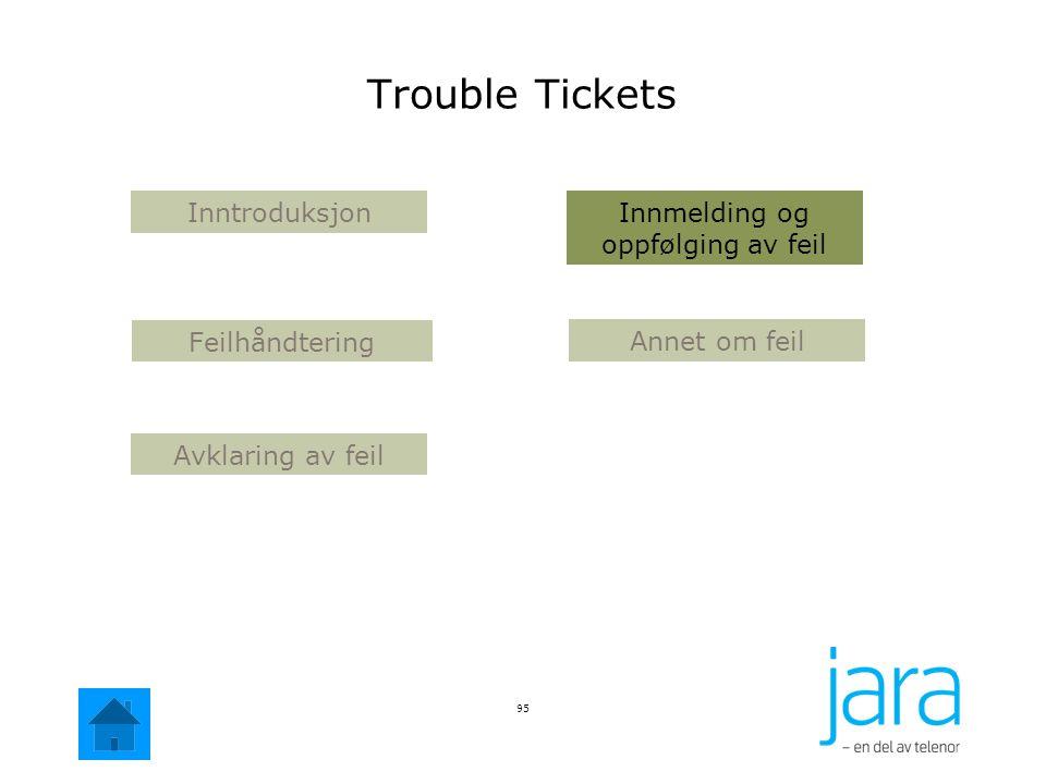 95 Annet om feil Avklaring av feil Innmelding og oppfølging av feil Inntroduksjon Feilhåndtering Trouble Tickets