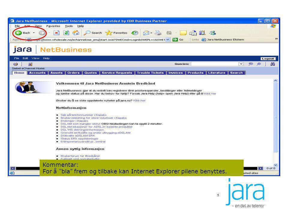 """5 Kommentar: For å """"bla"""" frem og tilbake kan Internet Explorer pilene benyttes."""