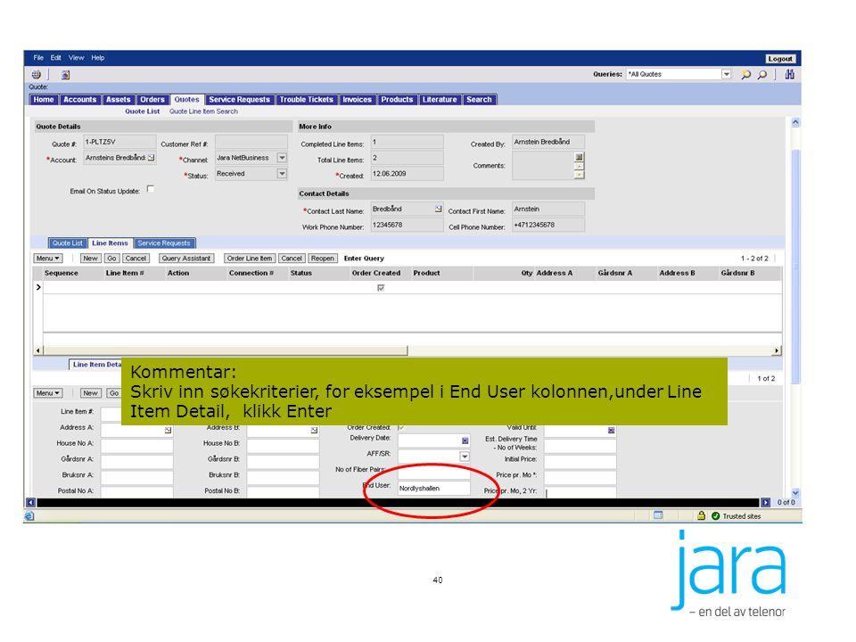 40 Kommentar: Skriv inn søkekriterier, for eksempel i End User kolonnen,under Line Item Detail, klikk Enter