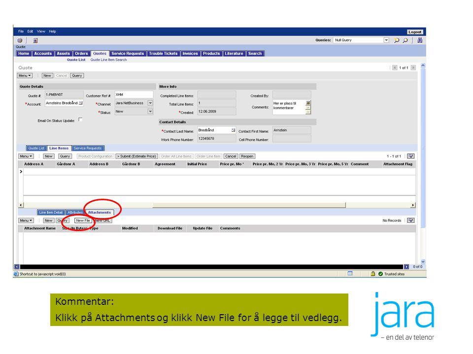 50 Kommentar: Klikk på Attachments og klikk New File for å legge til vedlegg.