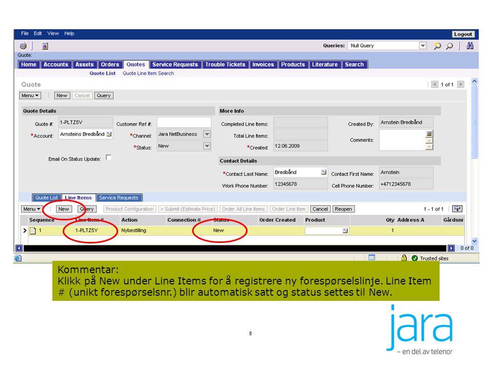 Egne underappleter er laget for å legge inn Service Request dirrekte fra Orders-, Quote- og Invoice-modulen For Trouble Tickets er det en egen knapp Create Service Request som tar deg dirrekte til Service Request modulen I Jara Netbusiness er det mulig å knytte Service Requests til –Orders –Quotes –Invoice –Trouble Ticket I Service Requests bildet er Quote-, Ordre- og Invoicenummer lagt til i listen slik at man kan se om Service Requesten er knyttet til en spesifikk Quote, Ordre eller Invoice 59 Service Requests knyttet til Orders, Quotes, Invoice og Trouble Tickets
