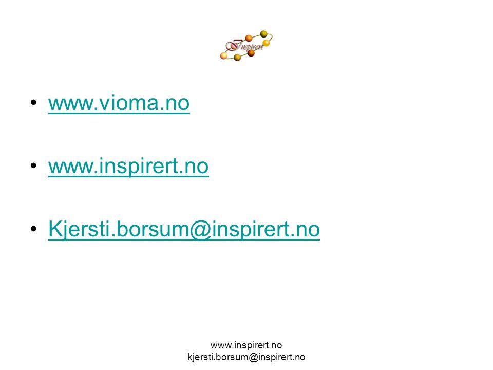 www.vioma.no www.inspirert.no Kjersti.borsum@inspirert.no www.inspirert.no kjersti.borsum@inspirert.no