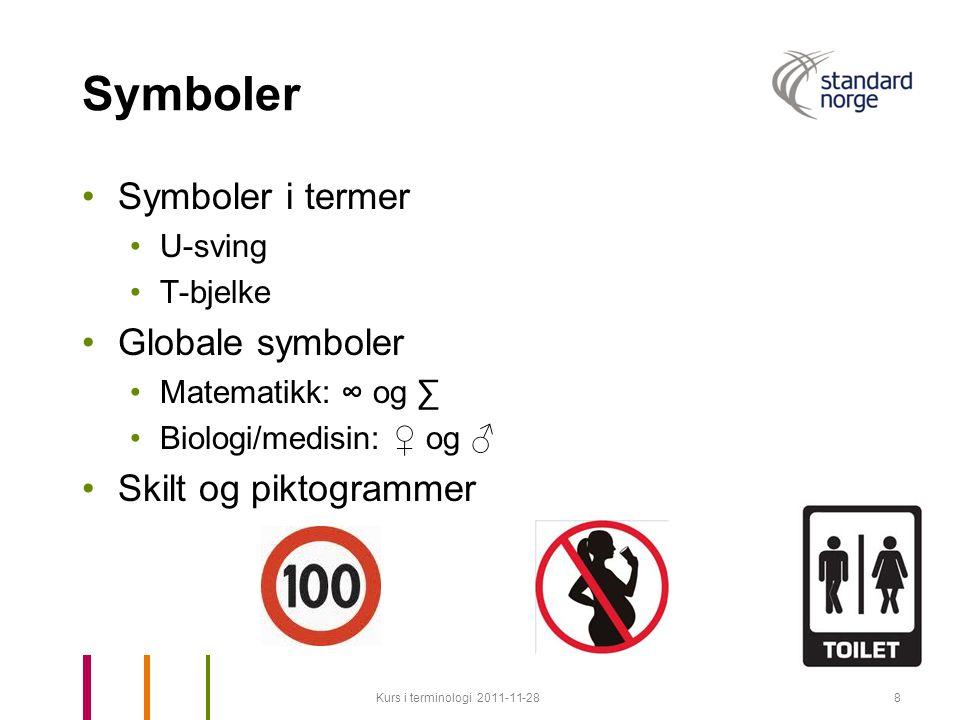 Symboler Symboler i termer U-sving T-bjelke Globale symboler Matematikk: ∞ og ∑ Biologi/medisin: ♀ og ♂ Skilt og piktogrammer Kurs i terminologi 2011-