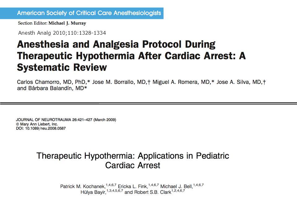 Sedasjon ved terapeutisk hypotermi 2012 11 Anesth Analg 2010;110:1328-1334