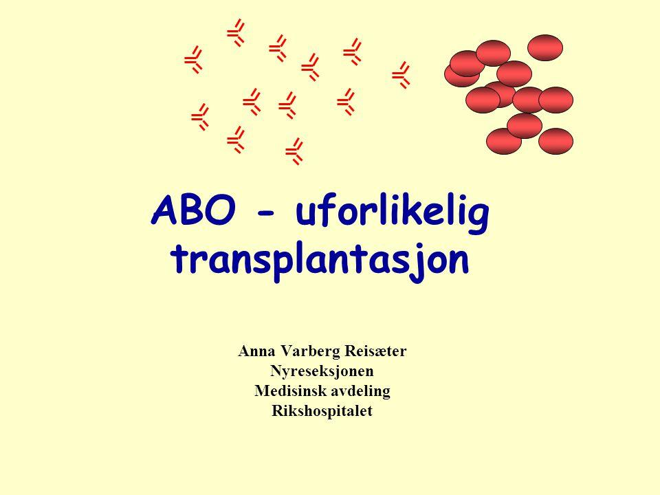Gode resultater ved ABO uforlikelig transplantasjon 60 transplantasjoner oppfølging 17 (2-61) mnd En pasient døde med fungerende graft etter 4 mnd Et graft tapt i non-compliance etter 22 mnd 58 normalt fungerende nyrer Tyden et al.