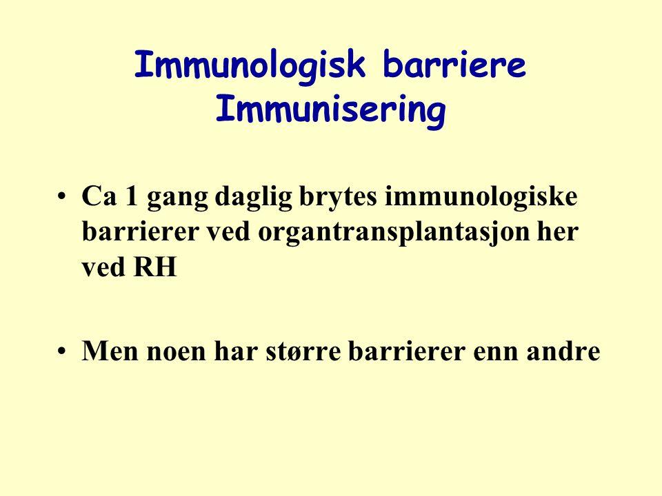 Immunologisk barriere Immunisering Ca 1 gang daglig brytes immunologiske barrierer ved organtransplantasjon her ved RH Men noen har større barrierer enn andre