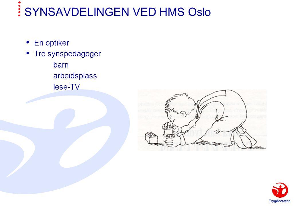 SYNSAVDELINGEN VED HMS Oslo  En optiker  Tre synspedagoger barn arbeidsplass lese-TV