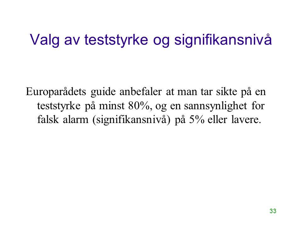 33 Valg av teststyrke og signifikansnivå Europarådets guide anbefaler at man tar sikte på en teststyrke på minst 80%, og en sannsynlighet for falsk al