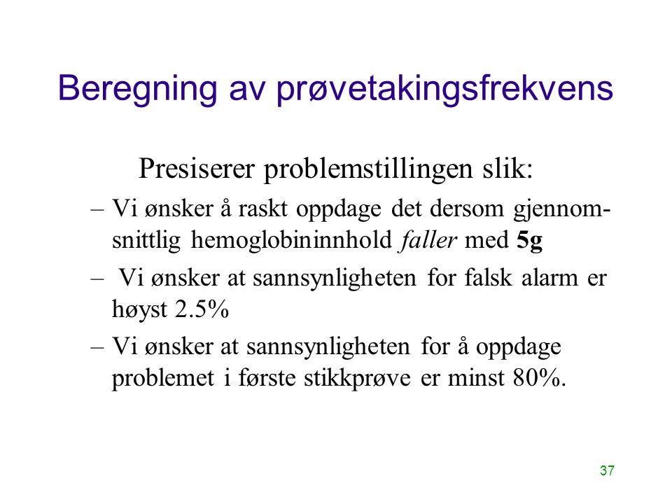 37 Beregning av prøvetakingsfrekvens Presiserer problemstillingen slik: –Vi ønsker å raskt oppdage det dersom gjennom- snittlig hemoglobininnhold fall