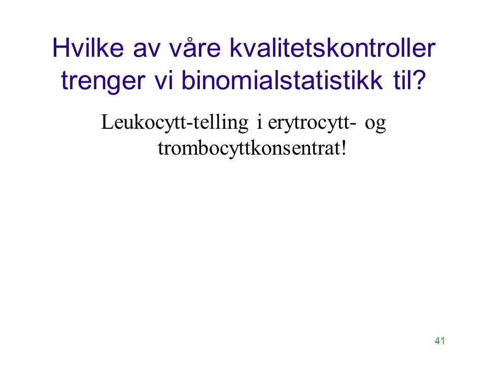 41 Hvilke av våre kvalitetskontroller trenger vi binomialstatistikk til? Leukocytt-telling i erytrocytt- og trombocyttkonsentrat!