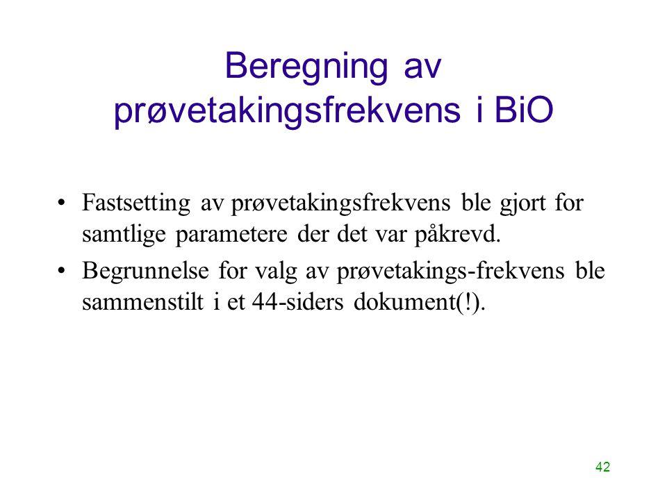42 Beregning av prøvetakingsfrekvens i BiO Fastsetting av prøvetakingsfrekvens ble gjort for samtlige parametere der det var påkrevd. Begrunnelse for