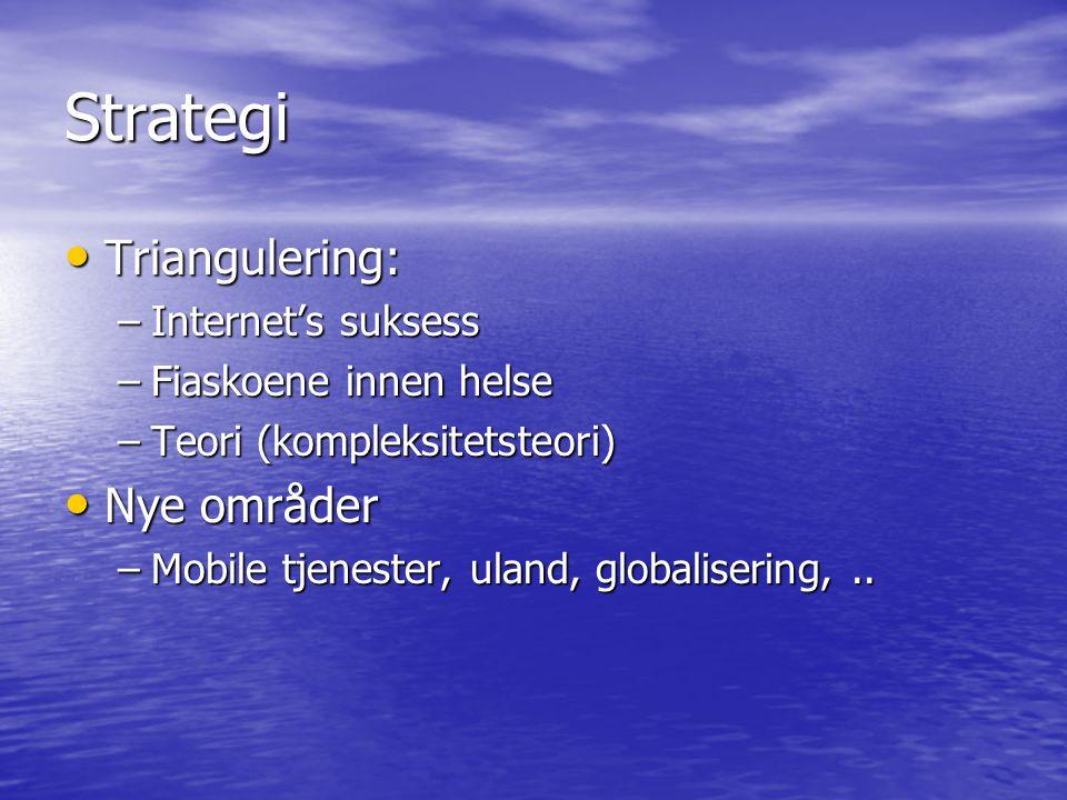 Strategi Triangulering: Triangulering: –Internet's suksess –Fiaskoene innen helse –Teori (kompleksitetsteori) Nye områder Nye områder –Mobile tjenester, uland, globalisering,..