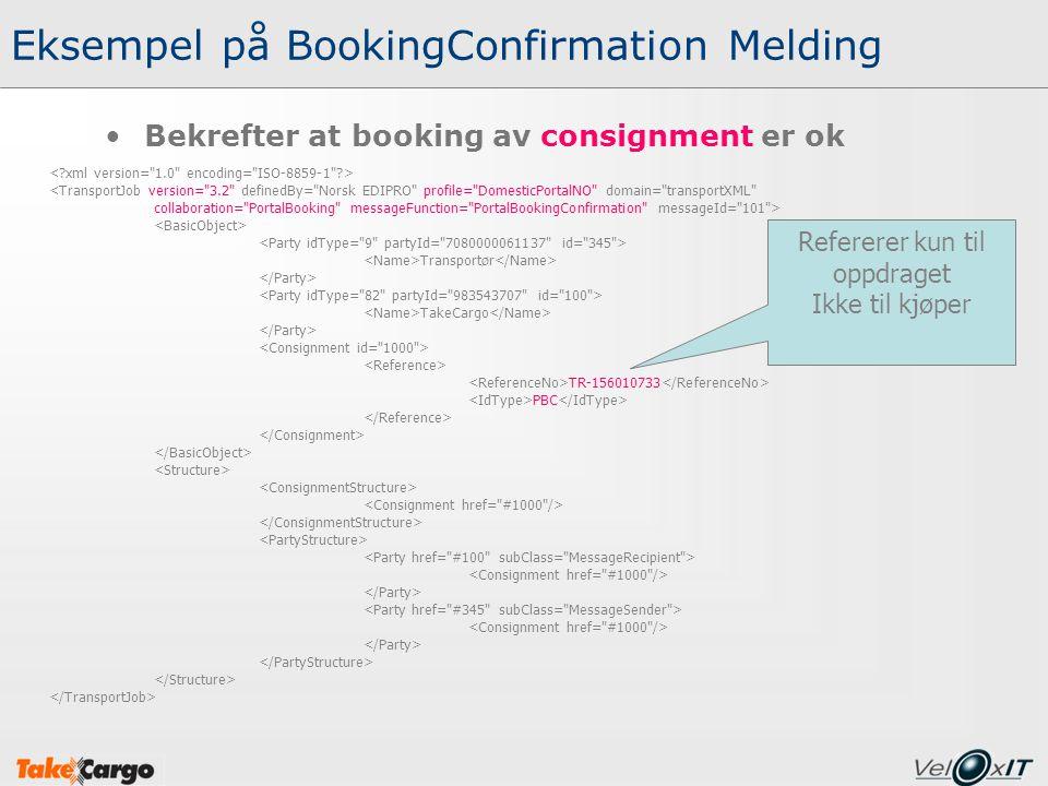 Eksempel på BookingConfirmation Melding Bekrefter at booking av consignment er ok <TransportJob version=