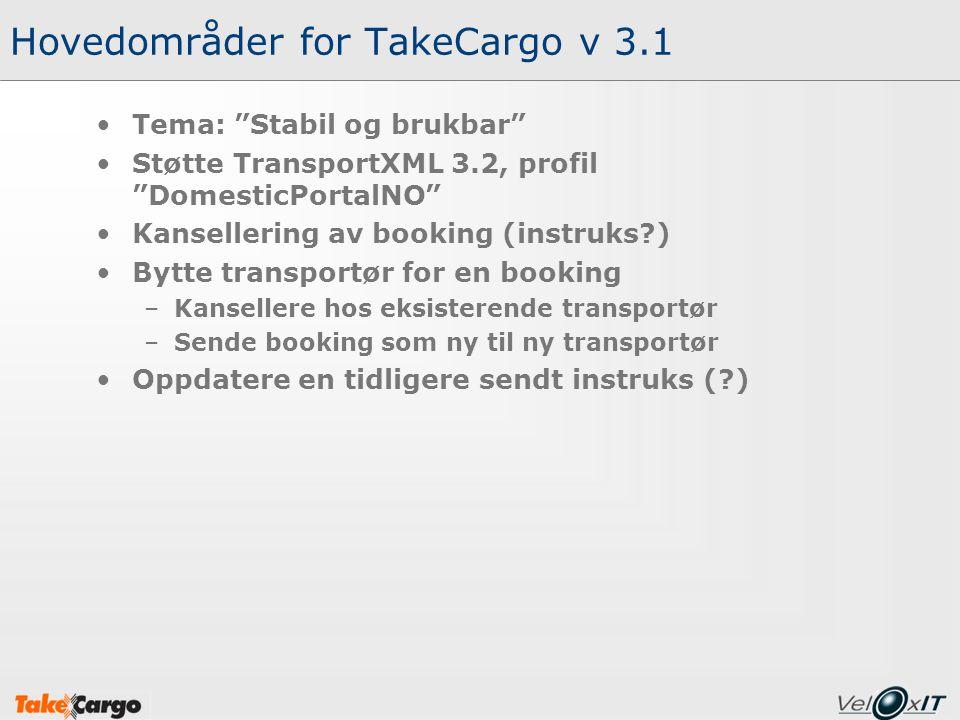 Hovedområder for TakeCargo v 3.1 Tema: Stabil og brukbar Støtte TransportXML 3.2, profil DomesticPortalNO Kansellering av booking (instruks?) Bytte transportør for en booking –Kansellere hos eksisterende transportør –Sende booking som ny til ny transportør Oppdatere en tidligere sendt instruks (?)