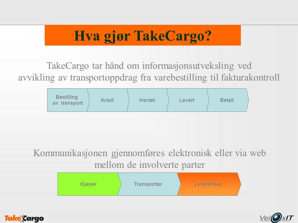BetaltLevertHentet LeverandørTransportørKjøper Hva gjør TakeCargo? Avtalt Bestilling av transport TakeCargo tar hånd om informasjonsutveksling ved avv